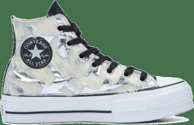 Converse Metallic Fur Chuck Taylor All Star Platform High Top voor dames Black/Silver Metal Fur 566466C