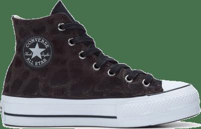 Converse Metallic Fur Chuck Taylor All Star Platform High Top voor dames Black/Black Jungle Fur 566464C