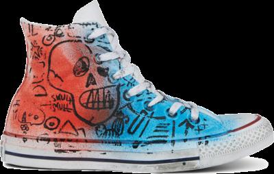 Converse Unisex Hand-Painted Chuck Taylor All Star High Top Skull Graffiti 167398C