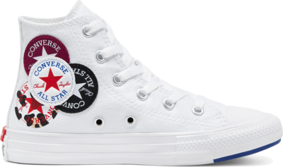 Converse Unisex Logo Play Chuck Taylor All Star High Top White/Rush Blue/Rose Maroon 366989C