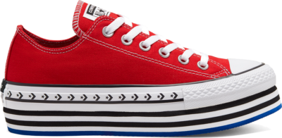 Converse Logo Play Platform Chuck Taylor All Star Low Top voor dames University Red/White/Black 566763C
