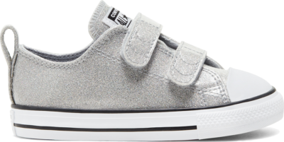 Converse Coated Glitter Easy-On Chuck Taylor All Star Low Top voor peuters Grey/ Black 767184C