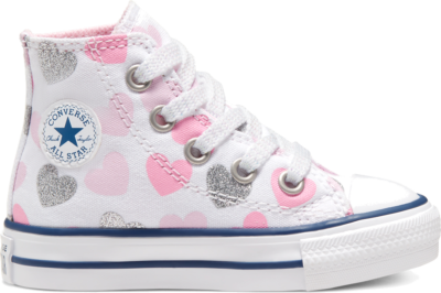 Converse Heartsfall Chuck Taylor All Star High Top voor peuters White/Cherry Blossom/Silver 768018C