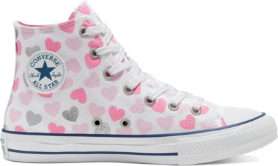 Converse Heartsfall Chuck Taylor All Star High Top voor kinderen White/Cherry Blossom/Silver 668019C