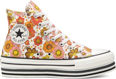 Converse Girls Unite Platform Chuck Taylor All Star High Top voor dames Egret/Vermilion Red 568004C