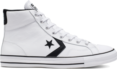 Converse Unisex Leather Star Player High Top White/ Black 166227C