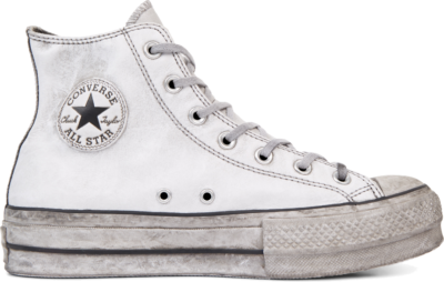 Converse Chuck Taylor All Star Leather Smoke Platform High Top White 562909C