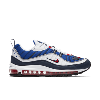 Nike Air Max 98 'White & University Red & Royal Blue' White/Obsidian/Metallic Silver/University Red 640744-100