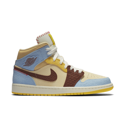 Air Jordan 1 Mid Fearless 'Maison Chateau Rouge' Pale Vanilla/Psychic Blue/Chrome Yellow/Cinnamon CU2803-200