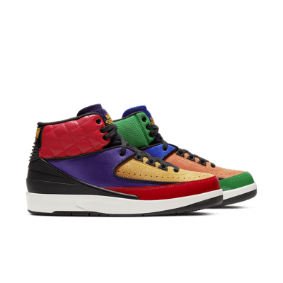 Women's Air Jordan 2 'Multi-Colour' University Red/Court Purple/Game Royal/Black CT6244-600