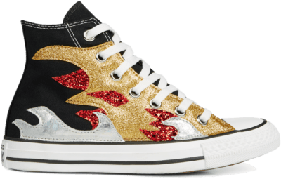 Converse Chuck Taylor All Star Glitter Flame High Top Black/ Red 165756C
