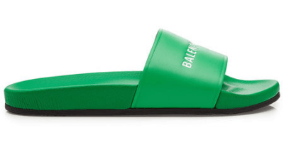 Balenciaga Leather Slides Green 506347WAL003775