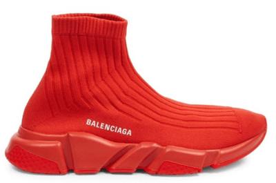 Balenciaga Speed Trainer Rib-Knit Rouge 540818 W1K60 6501
