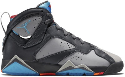 Jordan 7 Retro Barcelona Days (GS) Grey/Wolf Grey-Total Orange-Turquoise Blue 304774-016