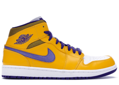 Jordan Air Jordan 1 Mid Lakers University Gold/Tour Yellow-White-Grape Ice 554724-708