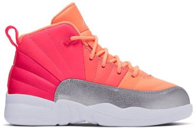 Jordan 12 Retro Sunrise (PS) Racer Pink/White-Hot Punch-Bright Mango-Sunset Pulse-Metallic Silver 510816-601