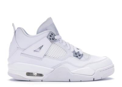 Jordan 4 Retro Pure Money 2017 (GS) White/Metallic Silver-Pure Platinum 408452-100