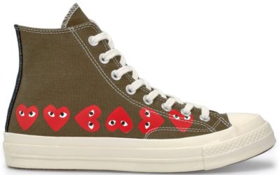 Converse Chuck Taylor All-Star 70s Hi Comme des Garcons Play Multi-Heart Green Green/Red-Egret 162973C