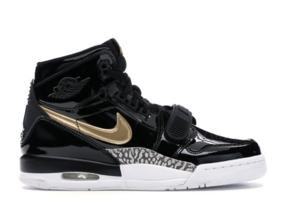 Jordan Legacy 312 Black Gold Patent (GS) Black/Metallic Gold-White AT4040-007