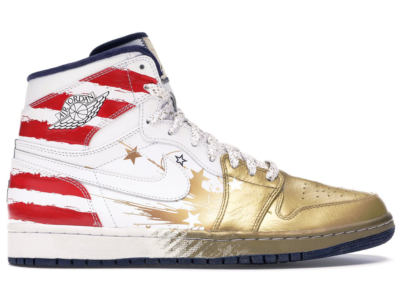 Jordan 1 Retro Dave White Wings For the Future Gold Metallic Gold/White-Sport Red-Navy 237399-043