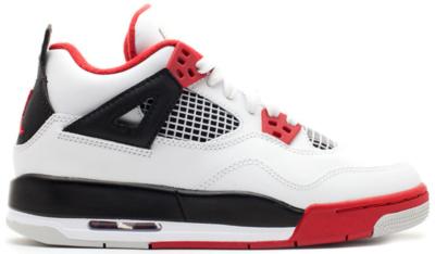 Jordan 4 Retro Fire Red 2012 (GS) White/Varsity Red-Black 408452-110