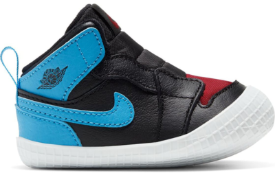 Jordan 1 Crib Bootie UNC Chicago Leather Black/Dark Powder Blue-Gym Red AT3745-046