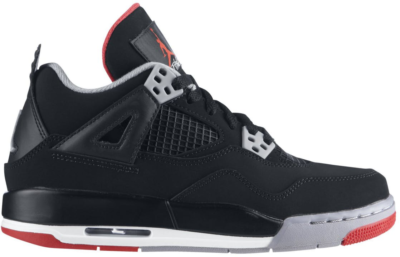 Jordan 4 Retro Black Cement 2012 (GS) Black/Fire Red-Cement Grey 408452-089
