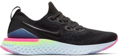 Nike Epic React Flyknit 2 Black Sapphire Hyper Pink (GS) Black/Black-Sapphire-Lime Blast-Hyper Pink-Blue Tint AQ3243-003