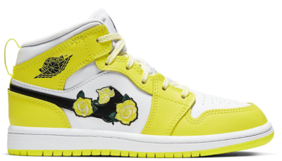 Jordan 1 Mid Dynamic Yellow Floral (PS) Dynamic Yellow/White-Black AV5173-700