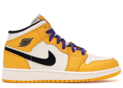 Jordan 1 Mid SE Lakers (GS) University Gold/Black-Pale Ivory-Court Purple-Sail BQ6931-700