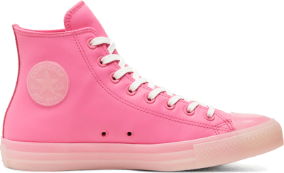 Converse Unisex Neon Leather Chuck Taylor All Star High Top Pink 166568C