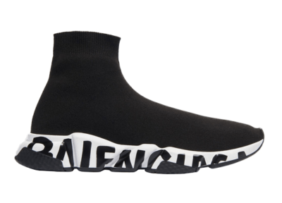 Balenciaga Speed Graffiti Trainers White Black Logo (W) 605942W05GE1015