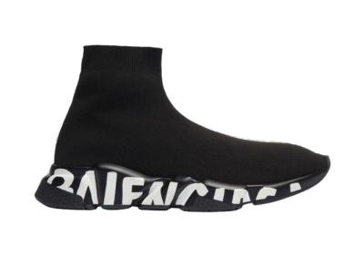 Balenciaga Speed Graffiti Trainers Black White Logo (W) 605942W05GE1006