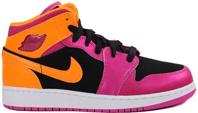 Jordan 1 Retro Mid Black Fusion Pink Bright Citrus (GS) 555112-026