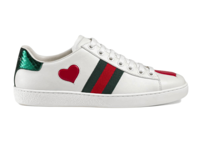 Gucci Ace Embroidered Hearts (W) _435638 A38M0 9074