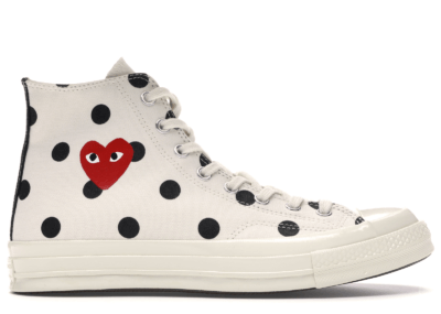 Converse Chuck Taylor All-Star 70s Hi Comme des Garcons PLAY  Polka Dot White 157251C