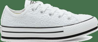 Converse Big Kids Daisy Crochet Platform Chuck Taylor All Star Low Top White/ Black 668933C