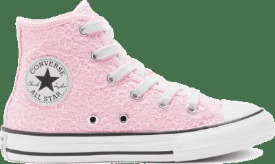 Converse Big Kids Daisy Crochet Chuck Taylor All Star High Top Blushing Bride/White/Black 668280C
