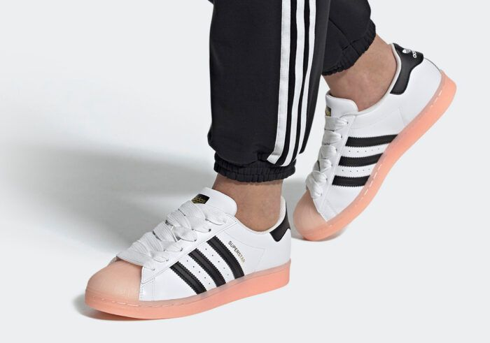 superstar adidas shell toe coral