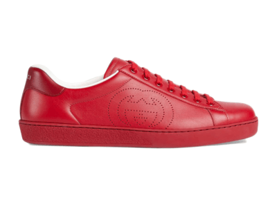 Gucci Ace Perforated Interlocking G Red _599147 AYO70 6463