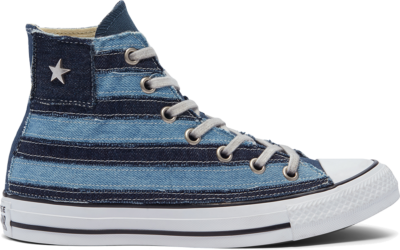 Converse Denim Patchwork Chuck 70 High Top Navy Denim Stripes 169143C