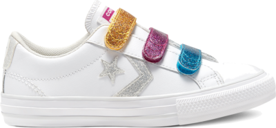Converse Big Kids Coated Glitter Easy-On Star Player Low Top White/Silver/Photon Dust 668478C