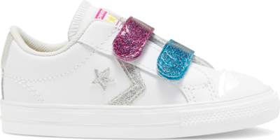 Converse Toddler Coated Glitter Easy-On Star Player Low Top White/Cactus Flower/Sail Blue 768479C