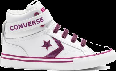 Converse Big Kids Coated Glitter Pro Blaze Strap High Top White/Cactus Flower 668475C