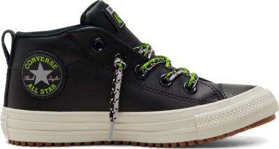 Converse Double Lace Suede Chuck Taylor All Star Street Boot Mid voor kids Black/Bright Pear/Dolphin 668489C