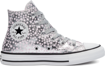 Converse Big Kids She's A Star Chuck Taylor All Star High Top Silver/Pink Glaze/White 669249C