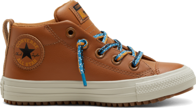 Converse Big Kids Double Lace Suede Chuck Taylor All Star Street Boot Mid Warm Tan/Cape Blue 668490C