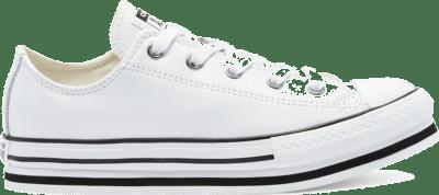 Converse Big Kids Leather EVA Platform Chuck Taylor All Star Low Top White/ Black 669709C