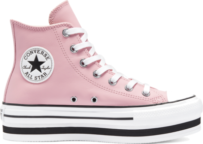 Converse Womens Leather EVA Platform Chuck Taylor All Star High Top Lotus Pink/White/Black 569723C