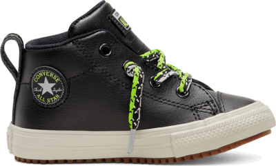 Converse Double Lace Suede Chuck Taylor All Star Street Boot Mid voor peuters Black/Bright Pear/Dolphin 768491C